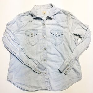 Gap Chambray Pearl Snap Button Down size XL